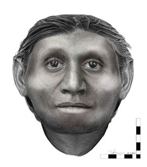 Facial approximation of Homo floresiensis by Dr Susan Hayes from the University of Wollongong.<br>© University of Wollongong